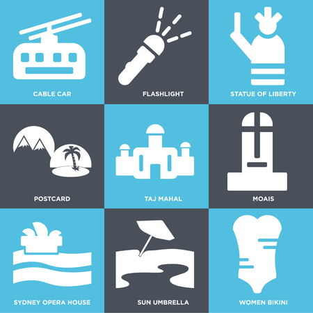 Set Of 9 simple editable icons such as Women Bikini, Sun umbrella, Sydney opera house, Moais, Taj mahal, Postcard, Statue of liberty, Flashlight, Cable car, can be used for mobile, web Illustration