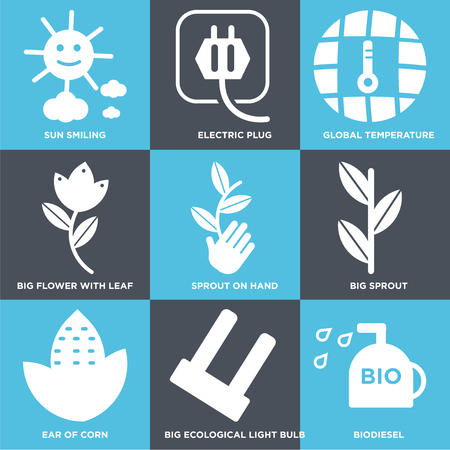 Set Of 9 simple editable icons such as Bio diesel, Big Ecological Light Bulb, Ear of Corn, Sprout, Sprout On Hand, Flower with Leaf, Global Temperature, Electric Plug, Sun Smiling. Can be used for mobile, web.