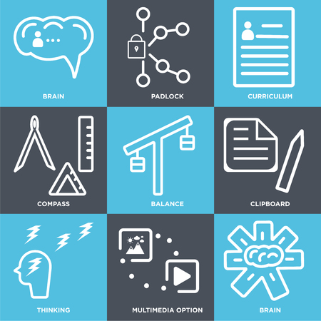 Set Of 9 simple editable icons such as Brain, Multimedia option, Thinking, Clipboard, Balance, Compass, Curriculum, Padlock, can be used for mobile, web