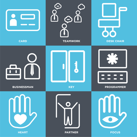 Set Of 9 simple editable icons such as Focus, Partner, Heart, Programmer, Key, Businessman, Desk chair, Teamwork, Card, can be used for mobile, web Illustration