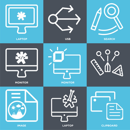 Set Of 9 simple editable icons such as Clipboard, Laptop, Image, Monitor, Search, Usb, can be used for mobile, web