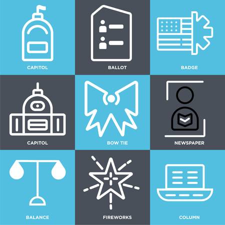 Set Of 9 simple editable icons such as Column, Fireworks, Balance, Newspaper, Bow tie, Capitol, Badge, Ballot. Can be used for mobile, web.