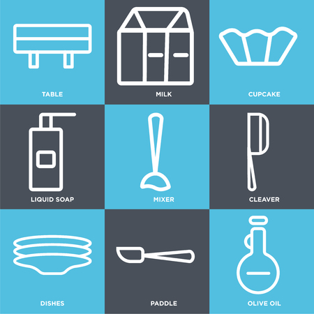 Set Of 9 simple editable icons such as Olive oil, Paddle, Dishes, Cleaver, Mixer, Liquid soap, Cupcake, Milk, Table. Can be used for mobile, web.