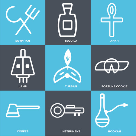 Set Of 9 simple editable icons such as Hookah, Instrument, Coffee, Fortune cookie, Turban, Lamp, Ankh, Tequila, Egyptian. Can be used for mobile, web. Standard-Bild - 101021697