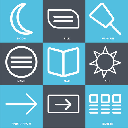 Set Of 9 simple editable icons such as Screen, Right arrow, Sun, Map, Menu, Push pin, File, Moon. Can be used for mobile, web.