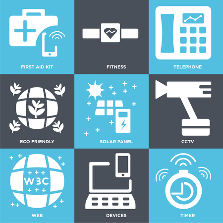 Set Of 9 simple editable icons such as Timer, Devices, Web, Cctv, Solar panel, Eco friendly, Telephone, Fitness, First aid kit, can be used for mobile, web 일러스트