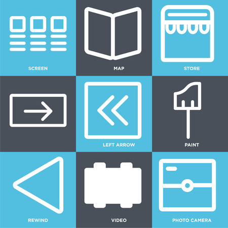 Set Of 9 simple editable icons such as Photo camera, Video, Rewind, Paint, Left arrow, Store, Map, Screen. Can be used for mobile, web.