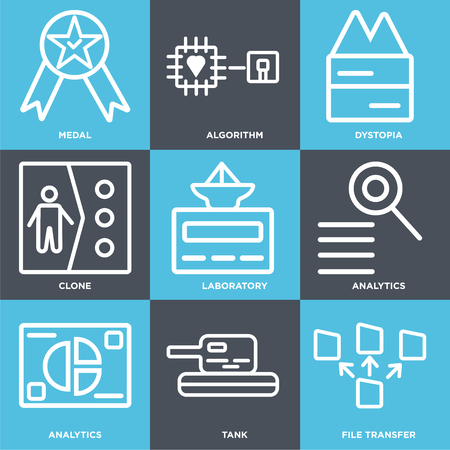 Set Of 9 simple editable icons such as File transfer, Tank, Analytics, Laboratory, Clone, Dystopia, Algorithm, Medal. Can be used for mobile, web.