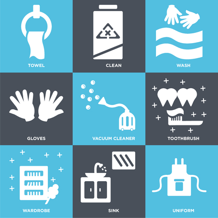 Set Of 9 simple editable icons such as Uniform, Sink, Wardrobe, Toothbrush, Vacuum cleaner, Gloves, Wash, Clean, Towel. Can be used for mobile, web. Vektoros illusztráció