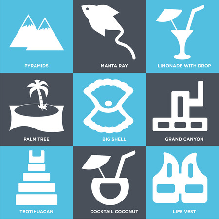 Set Of 9 simple editable icons such as Life Vest, Cocktail Coconut, Teotihuacan, Grand canyon, Big Shell, Palm tree, Limonade with Drop, Manta Ray, Pyramids, can be used for mobile, web
