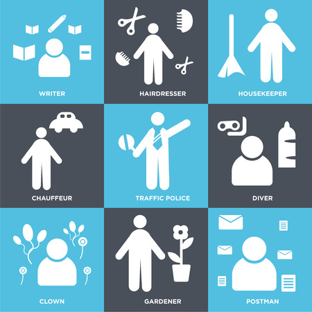 Set Of 9 simple editable icons such as Postman, Gardener, Clown, Diver, traffic police, Chauffeur, housekeeper, Hairdresser, Writer, can be used for mobile, web Illustration