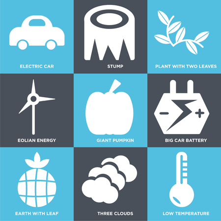 Set Of 9 simple editable icons such as Low Temperature, Three Clouds, Earth with Leaf, Big Car Battery, Giant Pumpkin, Eolian Energy, Plant Two Leaves, Stump, Electric Car, can be used for mobile,