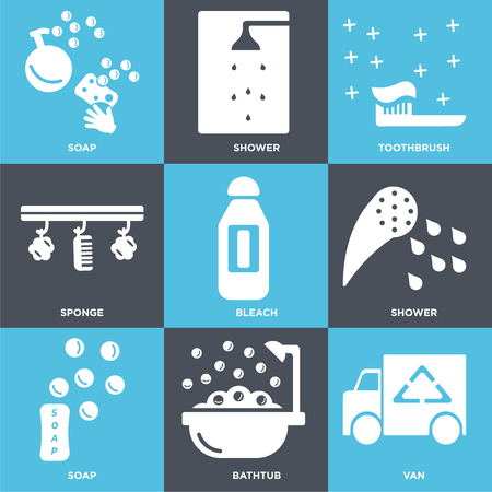 Set Of 9 simple editable icons such as Van, Bathtub, Soap, Shower, Bleach, Sponge, Toothbrush, can be used for mobile, web