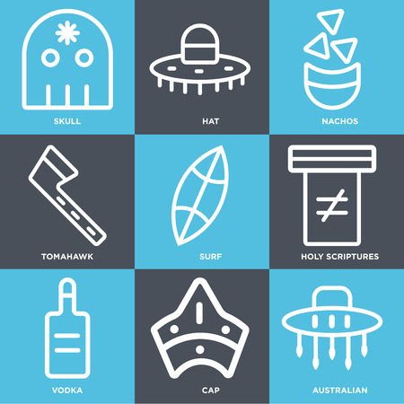 Set Of 9 simple editable icons such as Australian, Cap, Vodka, Holy scriptures, Surf, Tomahawk, Nachos, Hat, Skull, can be used for mobile, web  イラスト・ベクター素材