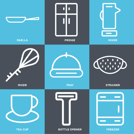 Set Of 9 simple editable icons such as Freezer, Bottle opener, Tea cup, Strainer, Tray, Mixer, Fridge, Paella, can be used for mobile, web