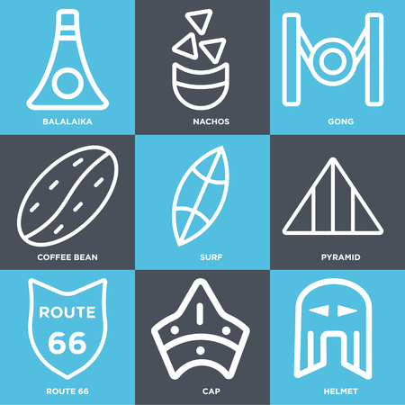Set Of 9 simple editable icons such as Helmet, Cap, Route 66, Pyramid, Surf, Coffee bean, Gong, Nachos, Balalaika, can be used for mobile, web