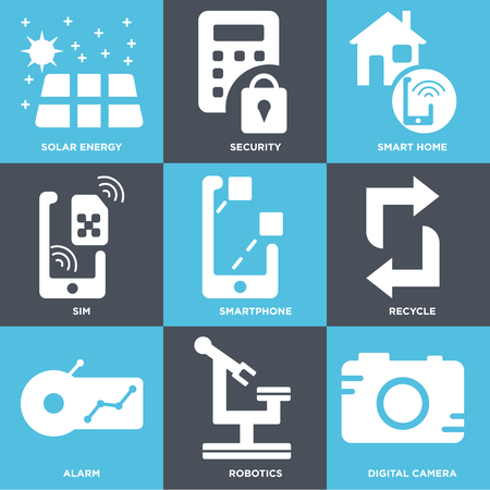 Set Of 9 simple editable icons such as Digital camera, Robotics, Alarm, Recycle, Smartphone, Sim, Smart home, Security, Solar energy, can be used for mobile, web