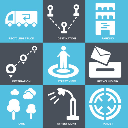 Set Of 9 simple editable icons such as Target, Street light, Park, Recycling bin, view, Destination, Parking, truck, can be used for mobile, web Illustration