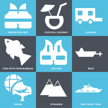 Set Of 9 simple editable icons such as Ship Front View, Pyramids, Travel, Boat, Life Vest, Fish with Four bubbles, Caravan, Cocktail Coconut, Reflector vest, can be used for mobile, web