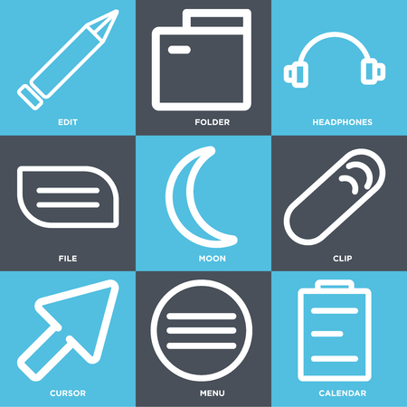 Set Of 9 simple editable icons such as Calendar, Menu, Cursor, Clip, Moon, File, Headphones, Folder, Edit, can be used for mobile, web