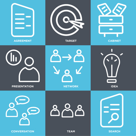 Set Of 9 simple editable icons such as Search, Team, Conversation, Idea, Network, Presentation, Cabinet, Target, Agreement, can be used for mobile, web