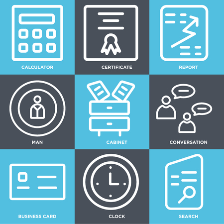 Set Of 9 simple editable icons such as Search, Clock, Business card, Conversation, Cabinet, Man, Report, Certificate, Calculator, can be used for mobile, web 일러스트