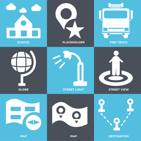 Set Of simple editable icons such as Destination, Map, Street view, light, Globe, Fire truck, Placeholder, School, can be used for mobile, web.