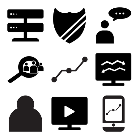 Set Of simple editable icons such as Mobile app, Play on pc, User, Analytic computer, Share, Search employee, User mail, Shield, Server, can be used for mobile, web.