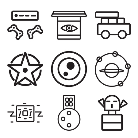 Set Of simple editable icons such as Monster, City, Robot, Outer space, Petri dish, Compass, Data, Science fiction, Game console, can be used for mobile, web.