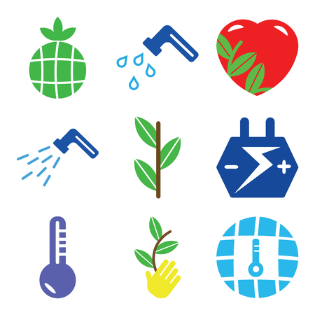 Set Of simple editable icons such as Global Temperature, Sprout On Hand, Low Big Car Battery, Sprout, Waste Pipe, Ecologic Love, Water Tap, Earth with Leaf, can be used for mobile, web.