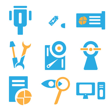 Set Of simple editable icons such as Computer, Zoom, Card, Web cam, Hard drive, Wrench, CPU, Battery, Cable, can be used for mobile, web.