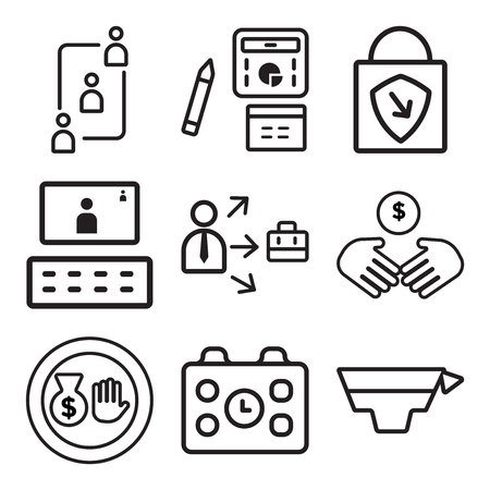 Set Of simple editable icons such as Graduation, Calendar, Money bag, Deal, Growth, Video conference, Padlock, Report, Teamwork, can be used for mobile, web.