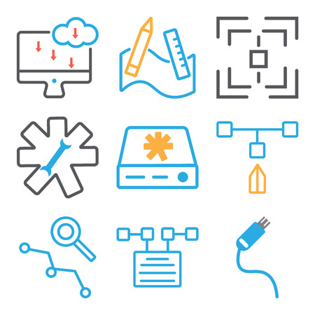 Set Of simple editable icons such as Pendrive, File, Loupe, Hard drive, Settings, Web de, Graphic tool, Laptop, can be used for mobile, web. 向量圖像