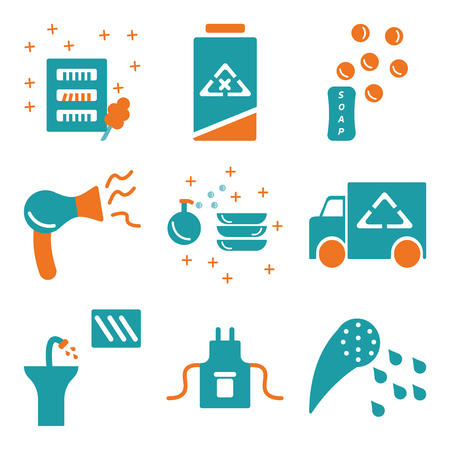 Set Of simple editable icons such as Shower, Uniform, Sink, Van, Liquid, Hairdryer, Soap, Clean, Wardrobe, can be used for mobile, web.