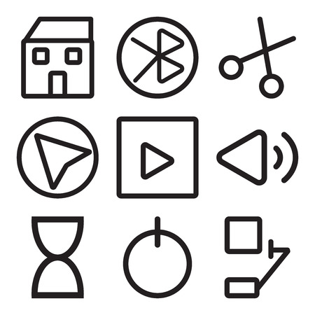 Set Of 9 simple editable icons such as Bell, Power, Hourglass, Volume, Play button, Cursor, Cut, tooth, Home, can be used for mobile, web