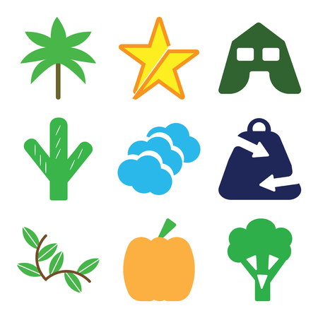 Set Of 9 simple editable icons such as Broccoli, Giant Pumpkin, Plant with Two Leaves, Ecologic Shopping Bag, Three Clouds, Big Cactus, Tent, Star, Palm Trees, can be used for mobile, web 일러스트