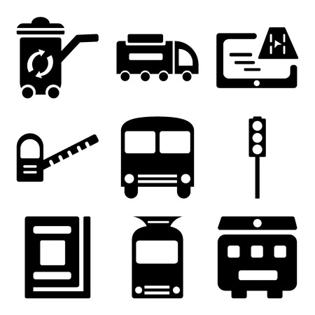 Set Of 9 simple editable icons such as Recycling bin, Tram, Library, Traffic light, Bus stop, Toll road, Gps, Road sweeper, Recycle can be used for mobile, web