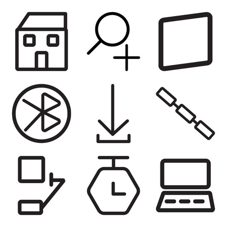 Set Of 9 simple editable icons such as Monitor, Timer, Bell, Link, Download, tooth, Smartphone, Zoom, Home, can be used for mobile, web
