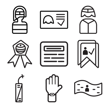 Set Of 9 simple editable icons such as Banner, Protest, Fireworks, Garlands, Newspaper, Badge, Businessman, Ballot, Firefighter, can be used for mobile, web