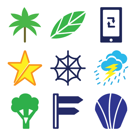 Set Of 9 simple editable icons such as Sea Shell, Divarication, Broccoli, Storm Cloud, Cobweb, Star, Ecological Trash Bin, Big Leaf, Two Palm Trees, can be used for mobile, web