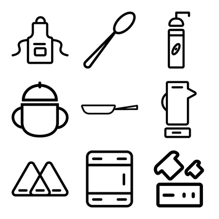 Set Of 9 simple editable icons such as Toaster, Freezer, Napkin, Mixer, Paella, Bowl, Coffee grinder, Ladle, Apron, can be used for mobile, web Illustration