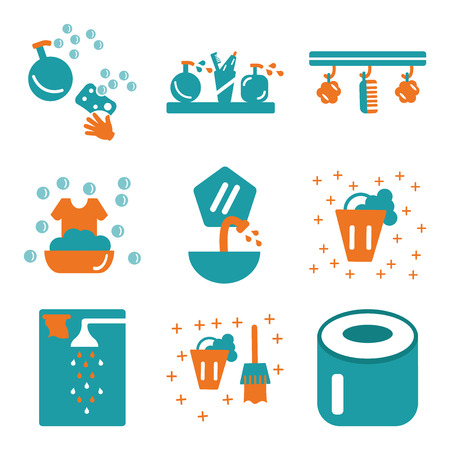 Set Of 9 simple editable icons such as Toilet paper, Bucket, Shower, Sink, Washing, Sponge, Shelf, Soap, can be used for mobile, web