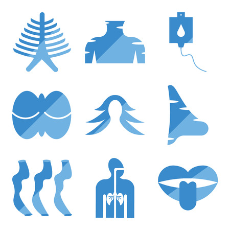 Set Of 9 simple editable icons such as Tongue and Mouth, Respiratory System, Small Intestine, Big Nose, Female Hair, Human Cerebellum, Blood Transfusion, Neck, Ribs, can be used for mobile, web 向量圖像