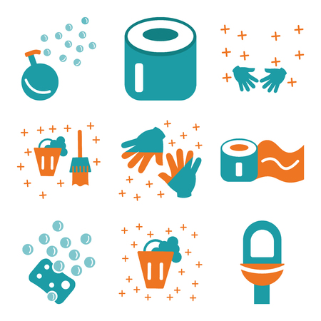 Set Of 9 simple editable icons such as Toilet, Bucket, Sponge, Toilet paper, Gloves, Hands, Soap, can be used for mobile, web
