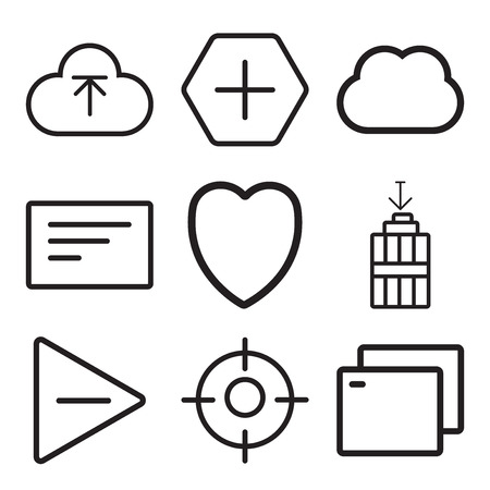 Set Of 9 simple editable icons such as Tab, Focus, Play, Garbage, Heart, Left align, Computing, Add, Upload, can be used for mobile, web