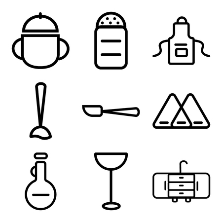 Set Of 9 simple editable icons such as Tap, Cocktail, Olive oil, Napkin, Paddle, Mixer, Apron, Pepper, Bowl, can be used for mobile, web