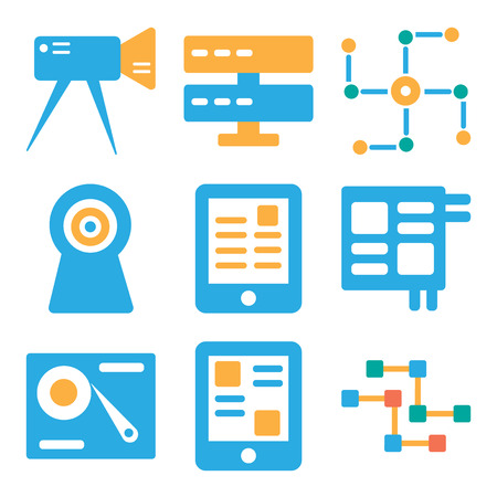 Set Of 9 simple editable icons such as Circuits, Smartphone, Hard drive, Microchip, Ereader, Webcam, Networking, Server, Video camera, can be used for mobile, web