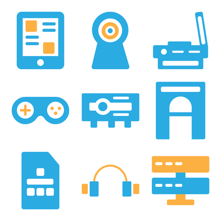 Set Of 9 simple editable icons such as Server, Headphones, Sim card, Hard drive, Projector, Joystick, Scanner, Webcam, Smartphone, can be used for mobile, web