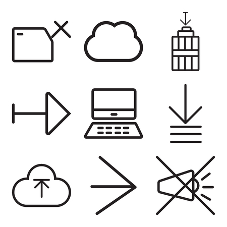 Set Of 9 simple editable icons such as Mute, Right arrow, Upload, Order, Mac, Garbage, Computing, Folder, can be used for mobile, web