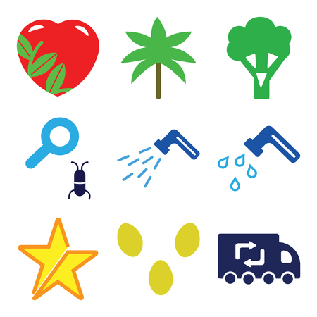 Set Of 9 simple editable icons such as Recycling Truck, Two Eggs, Star, Water Tap, Waste Pipe, Loupe and Bug, Broccoli, Palm Trees, Ecologic Love, can be used for mobile, web Vectores